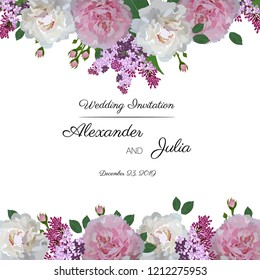 Greeting card with flowers. Wedding ornament concept. Frame, invitation design for holidays