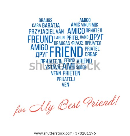 Greeting card for my best friend stock vector royalty free greeting card for my best friend with heart consists of the words m4hsunfo