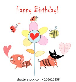 Greeting card with funny animals