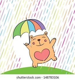 Greeting card with funny cartoon bear