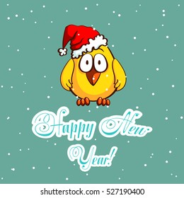 Greeting card with funny cartoon chick in santa's hat on snowy background. Vector illustration