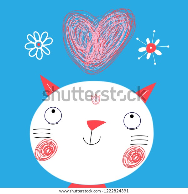Greeting card with a funny cat on Valentine's Day on a light background