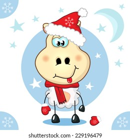 Greeting Card with a funny cheerful cartoon young sheep (ram, goat, mouton) in a red hat. Vector illustration for a card of New Year, Christmas.