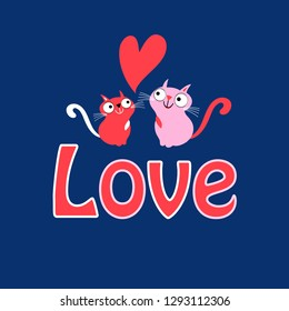 Greeting Card funny loving cats on a blue background with hearts