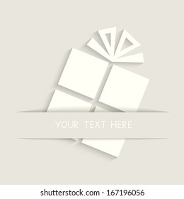 Greeting Card with gift box. Vector illustration. EPS10.