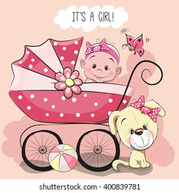 Greeting card it's a girl with baby carriage and dog
