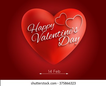 Greeting Card With Glossy Heart  Happy Valentines Day Hand Drawing Vector eps10.
