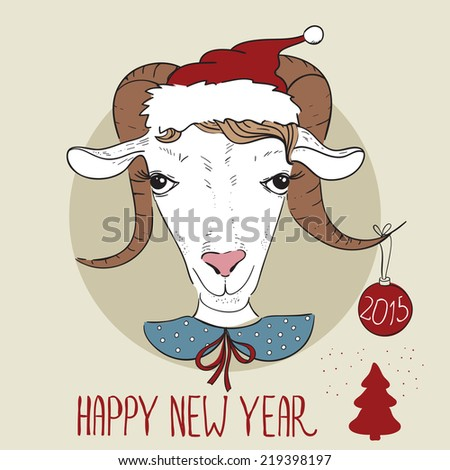 greeting card with a goat happy new year and merry christmas hipster vector