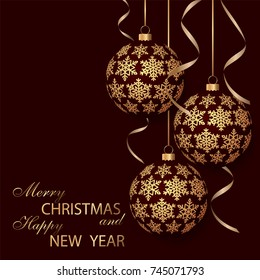 Greeting card with golden Christmas balls and space for text. Holiday decorations. Festive background. Merry Christmas and Happy New Year. Vector illustration