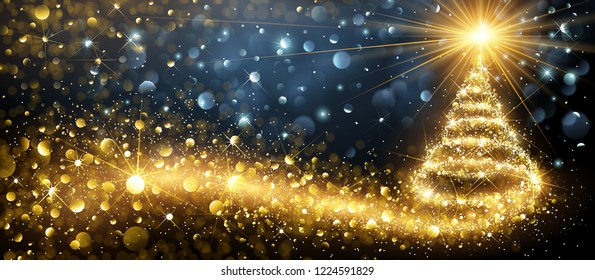 Greeting Card Golden Christmas Tree. Vector Illustration