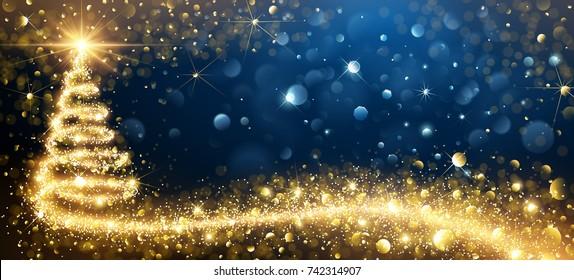 Greeting Card Golden Christmas Tree. Vector Illustration