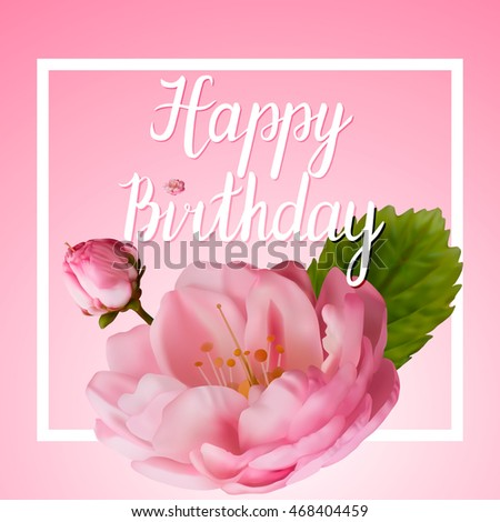 Greeting card greetings happy birthday pink stock vector royalty greeting card greetings happy birthday with pink roses vector illustration m4hsunfo