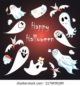 Greeting card for Halloween with ghosts on a dark background