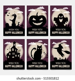 Vintage halloween poster set design vampire stock vector 2018 greeting card for halloween gift cards for all saints day m4hsunfo