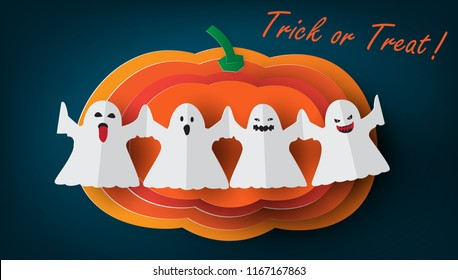 Greeting card for Halloween,Trick or Treat with pumpkin and ghosts origami,paper art style.