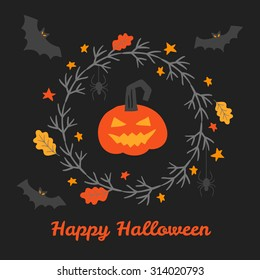 Greeting card with hand drawn Halloween wreath, oak leaves, pumpkin lantern, bats and stars. Perfect for holiday greetings, Halloween invitations, party decoration