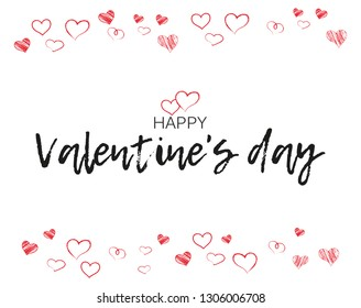 "Greeting card with hand written lettering. ""Happy Valentine`s day"" inscription. Romantic postcard."