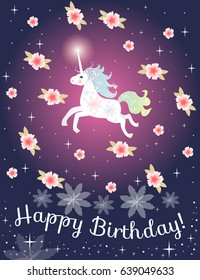 Greeting card Happy birthday with cute unicorn and pink flowers on polka dot background. Vector template.