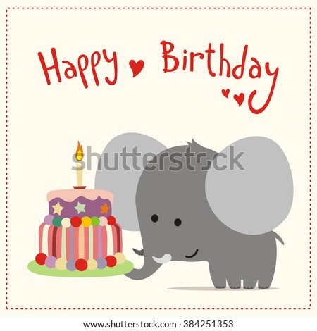 Greeting Card Happy Birthday Cute Little Stock Vector Royalty Free