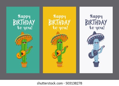 Greeting Card Happy Birthday Funny Cactus In Sombrero With A Guitar Wishes You