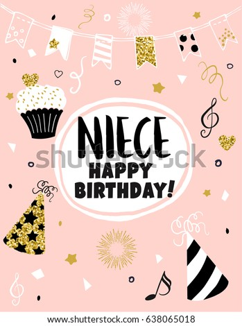 Greeting Card Happy Birthday Niece Hand Drawn Pink Design With Golden Glitter Cupcake Dots