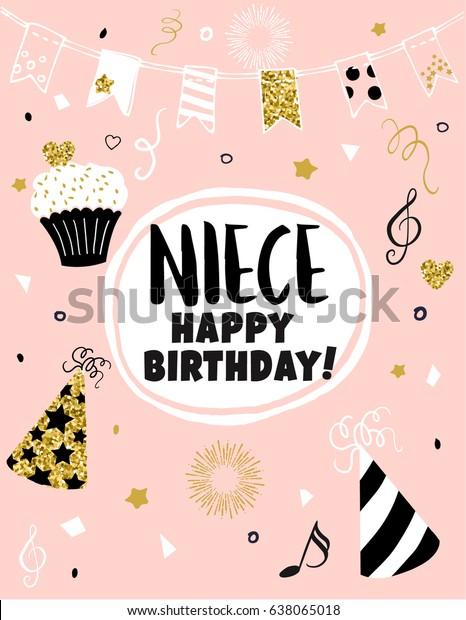 Greeting Card Happy Birthday Niece Hand Stock Vector
