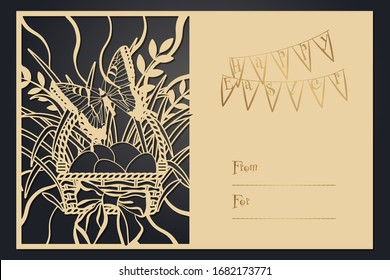 Greeting card Happy Easter. Papercut template, laser cutting. Rustic motif for openwork card.