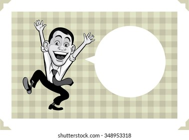 Greeting card with happy jumping businessmen - just add your text