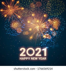 Greeting card Happy New Year 2021. Beautiful Square holiday web banner or billboard with text Happy New Year 2021 on the background of fireworks.
