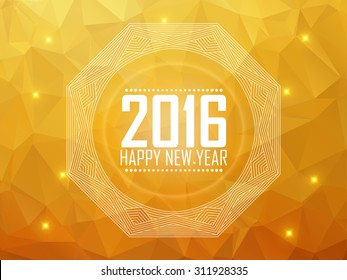 Greeting card Happy New Year 2016. Polygonal background, stars, holiday, shine, mandala. Vector illustration