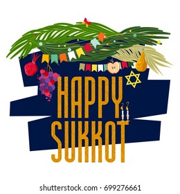 "Greeting card ""Happy Sukkot"". Harvest festival. Autumn Fest. Jewish holiday tradition. Vector illustration"