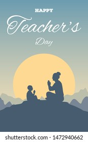 Greeting card for Happy Teacher's Day. Teacher and disciple learn the Namaste on the background mountain landscape and sun. Silhouettes of a child and a woman sitting in a lotus position.