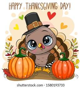 Greeting Card Happy Thanksgiving day with Cute Cartoon turkey bird