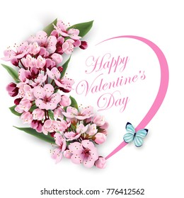 Greeting card happy Valentines day with a heart of flowers pink cherry blossoms with blue butterfly. Template for birthday cards, mothers day card spring background, banner invitations. Vector.
