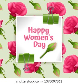 Greeting card Happy Women's Day, card with Seamless, endless background with bright pink roses. Background for poster or banner, vector illustration