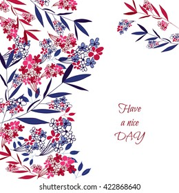 Greeting card, have a nice day. Hand drawn flowers and branch elements.