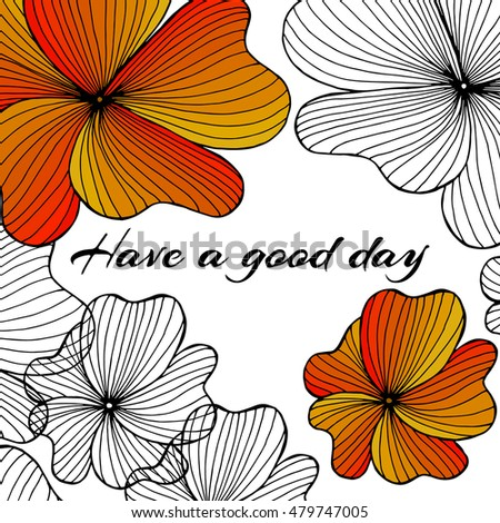 Greeting card have nice day hand stock vector royalty free greeting card have a nice day hand drawn flowers elements m4hsunfo
