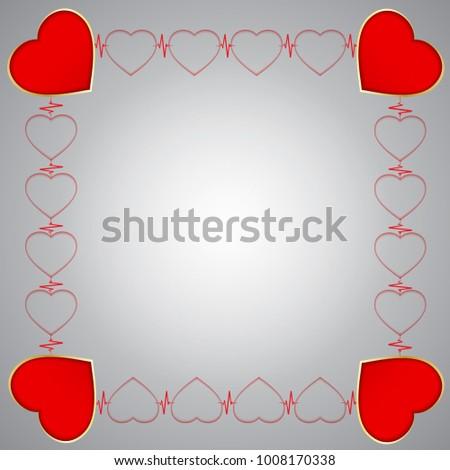 Greeting Card Hearts Shape Frame Big Stock Vector (Royalty Free ...