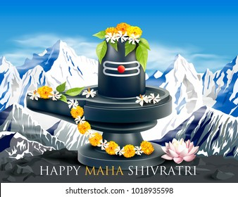 Greeting card with Himalayas and Lingam for Maha Shivratri, a Hindu festival celebrated of Lord Shiva. Vector illustration.