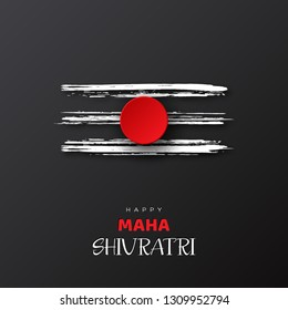 Greeting card for Hindu festival Maha Shivratri. Grunge texture Mahadev Tilak sign. Vector illustration.