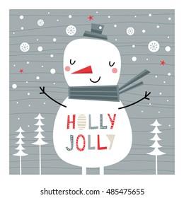 Greeting card: Holly Jolly. Creative hand drawn card with cute Snowman.  Card for winter holidays. Vector cartoon illustration.