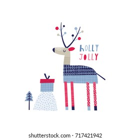 Greeting card: holly jolly. Creative hand drawn card for winter holidays with cute deer. Vector cartoon illustration. Hand drawn typography poster. Xmas design. Pink and blue