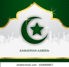 greeting card of holy ramadhan kareem days and ied mubarak days with shiny moon and star shape vector