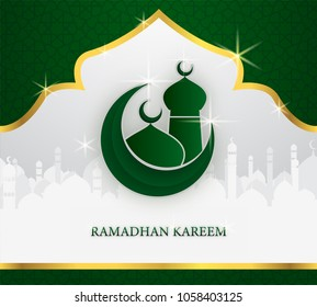 greeting card of holy ramadhan kareem and ied mubarak days with arabic mosque shape