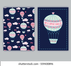 Greeting card with hot air balloon in the sky.Collection Valentine's Day. Sketch vector illustration drawn by hand. Doodles.
