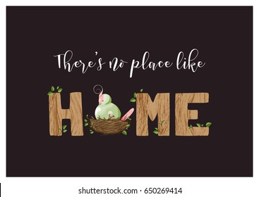 """greeting card or housewarming party invitation with lettering """"home"""" and a cute plump bird in a nest; imitation of wooden texture; vector illustration; home interior or exterior decor"""