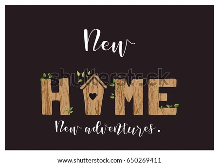 Greeting Card Or Housewarming Party Invitation With Lettering Home And A Cute Nesting House