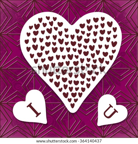 Greeting card i love u sticker stock vector royalty free 364140437 greeting card i love u sticker with pattern of many little hearts on m4hsunfo