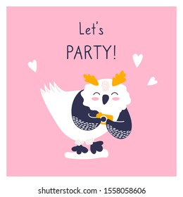 Greeting card with icon of cute owl. Character hand drawn style on happy new year poster. Funny animal takes pictures. Let's party.