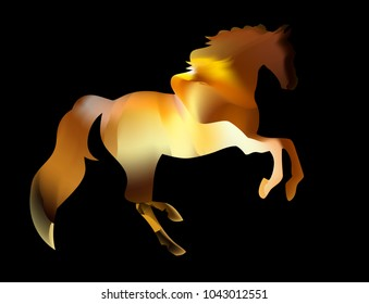 greeting card and icon design. Fiery silhouette of an Arab stallion. The red horse runs on fire.
